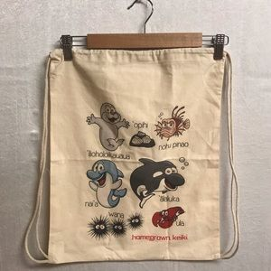 Homegrown Keiki drawstring bag with animal names